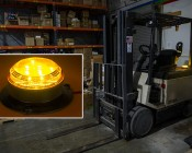 """2-1/2"""" Amber LED Strobe Light Beacon with 8 LEDs: Shown Installed On Forklift And Flashing On."""