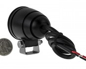 """2"""" Round 10 Watt LED Mini Auxiliary Work Light: Black Finish, Back View With Size Comparison"""