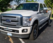 """Ford F-250 Super Duty (11-2015) Hidden Bumper LED Light Bar Mount - Straight 20"""" Single Row LED Light Bars: Shown Installed On F250 With Mounting Brackets (Sold Separately)."""