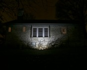 20 Watt High Power LED Flood Light Fixture: Shown Illuminating House From 5' And Approximately 45°Angle.