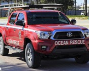 """20W Mini-Aux 4"""" Dual Row LED Off Road Work Light - CREE: Installed On Ocean Rescue Truck"""