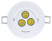 3 Watt LED Recessed Light Fixture - Aimable and Dimmable: Front View Of Recessed LED Fixture