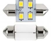 DE3175 LED Bulb - 4 SMD LED Festoon - 30mm: Front View Showing Stock Bulb Size Comparison