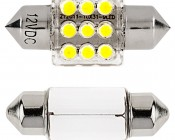 DE3175 LED Bulb - 9 LED Festoon - 30mm: Front View