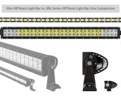 "30"" Slim Off Road LED Light Bars - 90W - 8,200 Lumens: Showing Physical Size Comparison Of Slim And Regular Bars."
