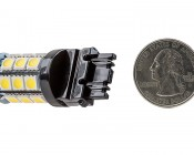 3156 LED Bulb - 27 SMD LED Tower - Wedge Retrofit: Back View with Size Comparison