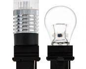 3156 LED Bulb - Single Intensity 1 x 3 Watt High Power LED w/ Reflector Lens: Profile View with Size Comparison to Incandescent Stock Bulb