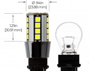 3156 CAN Bus LED Bulb - 26 SMD LED Tower - Wedge Retrofit: Profile View