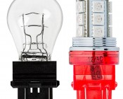 3157-CK LED Bulb - Dual Function 18 SMD Tower - Wedge Retrofit: Profile View with Size Comparison to Incandescent Bulb