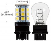 3156/3157 CK LED Bulb - Dual Function 27 SMD LED Tower - Wedge Retrofit: Profile View and Measurements