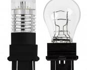 3157 LED Bulb w/ Reflector Lens - Dual Function 1 High Power LED - Wedge Retrofit: Profile View