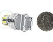 3157 LED Bulb w/ Stock Cover - Dual Function 36 SMD LED Tower - Wedge Retrofit: Back View With Size Comparison