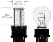 3157 CK LED Bulb - Dual Function 18 SMD Tower - Wedge Retrofit: Profile View