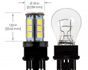 3157 LED Bulb - Dual Function 18 SMD LED Tower - Wedge Retrofit: Profile View