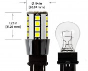 3157 CAN Bus LED Bulb - Dual Function 26 SMD LED Tower - Wedge Retrofit: Profile View