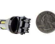 3156/3157 CAN Bus LED Bulb - Dual Function 30 SMD LED Tower - Wedge Retrofit: Back View with Size Comparison