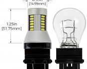 3156/3157 CAN Bus LED Bulb - Dual Function 30 SMD LED Tower - Wedge Retrofit: Profile View with Size Comparison to Stock Incandescent Bulb and Dimensions