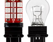 3156/3157 CAN Bus LED Bulb - Dual Function 30 SMD LED Tower - Wedge Retrofit: Profile View with Size Comparison to Incandescent Bulb