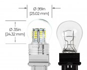 3157 LED Bulb w/ Stock Cover - Dual Function 36 SMD LED Tower - Wedge Retrofit: Profile View