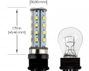3157 LED Bulb - Dual Function 28 SMD LED Tower - Wedge Retrofit: Profile View
