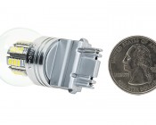 3156 LED Bulb w/ Stock Cover - 36 SMD LED Tower - Wedge Retrofit: Back View With Size Comparison