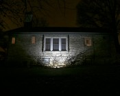 36 Watt High Power LED Flood Light Fixture:Shown Illuminating House From 5' And Approximately 45°Angle.