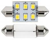 3710 LED Bulb - 6 SMD LED Festoon - 38mm: Front View