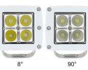 """3"""" Square 12 Watt LED Boat Light: Showing Front View Of 8°(Left) And 90°(Right)."""