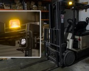 "4-3/4"" Amber LED Strobe Light Beacon with 18 LEDs: Shown Installed On Forklift And Flashing On."