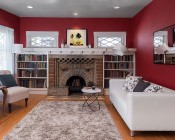 """LED Can Light Retrofit for 4"""" Fixtures - 10W Gimbal Can Light Conversion Kit: Installed in Ceiling Above Fireplace Mantle"""