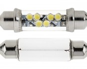4211 LED Bulb - 6 LED Festoon - 42mm: Front View Showing Size Comparison To Incandescent Festoon Bulb