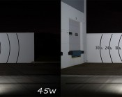 70 Watt Knuckle-Mount LED Flood Light - 6,800 Lumens: Shown On (Right) Compared To 45W Version (Left).