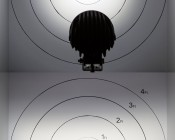 "4.7"" Round 40W Heavy Duty High Powered LED Work Light: On Showing Beam Patterns. 10° Top Photo and 30° Bottom Photo From 10'."