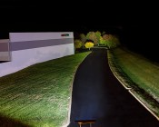 "50"" Off Road LED Light Bar with Spot/Flood Multi Beam - 240W: Showing Beam Pattern Outside- Trees Are 300 Feet Away"