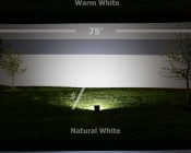 50 Watt High Power LED Flood Light Fixture: Showing Beam Pattern From Approximately 20' In Warm, Natural, And Cool White.