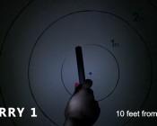Beam pattern of light aimed at target 10 feet away