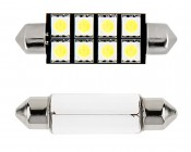 578 CAN Bus LED Bulb - 8 LED Festoon - 44mm: Front View