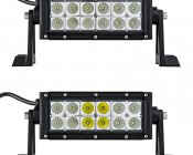 """6"""" Off Road LED Light Bar - 18W: Showing Front View Of Light Bar In Flood Beam Pattern (Top) And Combo Beam Pattern (Bottom)."""