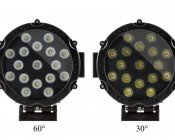 "6"" Round 51W Heavy Duty High Powered LED Work Light: Front Views of 60° & 30°"