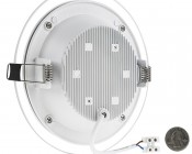 "6"" Round LED Recessed Light with Decorative Edge Lit Glass Panel Accent Light - 12W: Back View With Size Comparison"