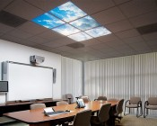 Multi LED Panel Light Display - Skylight Prints - Even-Glow® LED Panels: Installed in Ceiling Tile in Conference Room