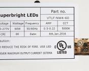 60W Vapor Tight Light Fixture - Industrial LED Light - 4' Long: Label Information.