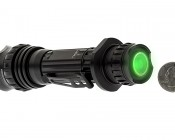 6189 REDLINE Select RC™ Rechargeable Tactical Flashlight with USB Powerbank: Back View With Size Comparison Showing Stealth Light Mode - Button Also Glows-in-the-Dark