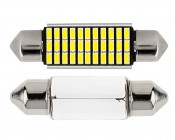 6451 LED CAN Bus Bulb - 33 SMD LED Festoon - 41mm/42mm: Front View with Size Comparison to Incandescent Bulb
