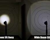 LED Flashlight/Work Light - NEBO SLYDE+ - 300 Lumens: Showing Beam on Target Zoomed In and Out