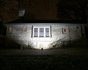 80 Watt High Power LED Flood Light Fixture:  - Shown Illuminating House From 5' And Approximately 45°Angle.