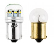 67 LED Bulb - 12 LED Forward Firing Cluster - BA15S Retrofit: Profile View with Size Comparison to Incandescent Bulb