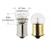 67 LED Bulb - 15 LED Forward Firing Cluster - BA15S Retrofit: Profile View and Measurements
