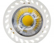 7 Watt GU10 Warm White LED Bulb - Multifaceted Lens with High Power COB LED: Front View