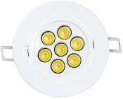 7 Watt LED Recessed Light Fixture - Aimable: Front View Of LED Light Fixture